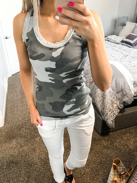 Ribbed Camouflage Tank Top