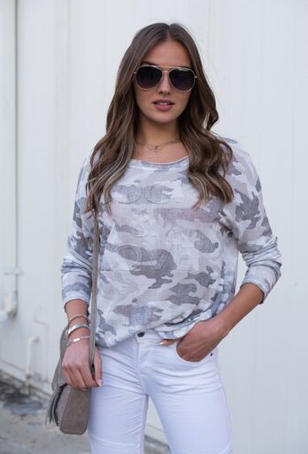 Rock & Love Camo Long Sleeve Top