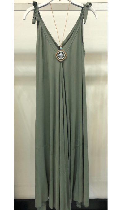 Tie Strap V-neck Maxi Dress
