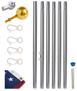 Frontier Rope Flagpole - 25' Tapered Sectional Fagpole kit w/ 4'x6' USA Flag
