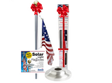 Classic Rope Flagpole kit Bundle with Solar Light & Flash Collar