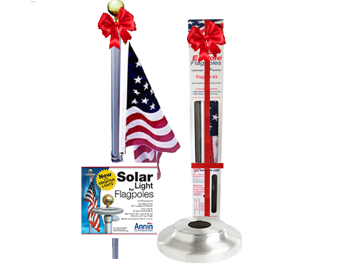 Defender (No Rope) Flagpole Bundle with Solar Light & Flash Collar