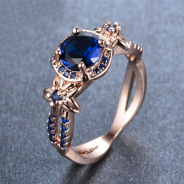 Luxxis Blue Gem Rose Gold Wedding Ring - Luxxis Jewelry