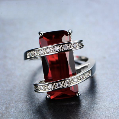 Luxxis Red Gem Geometric Ring - Luxxis Jewelry
