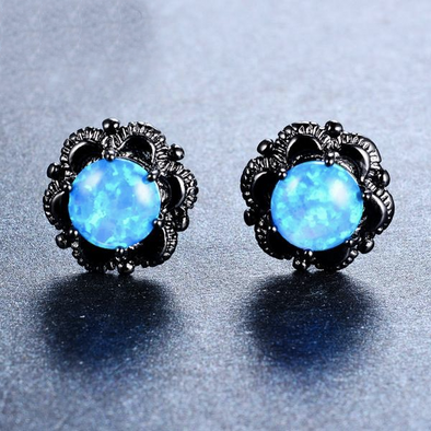 Luxxis Blue Round Fire Opal Stud Earrings - Luxxis Jewelry
