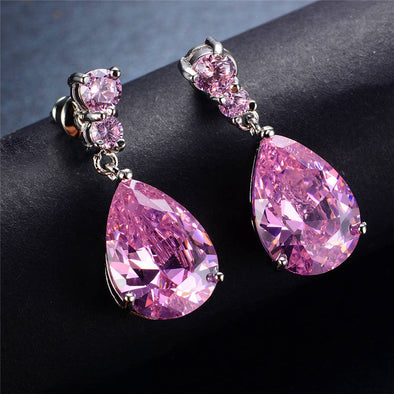 Luxxis Pink Water Drop Earrings - Luxxis Jewelry