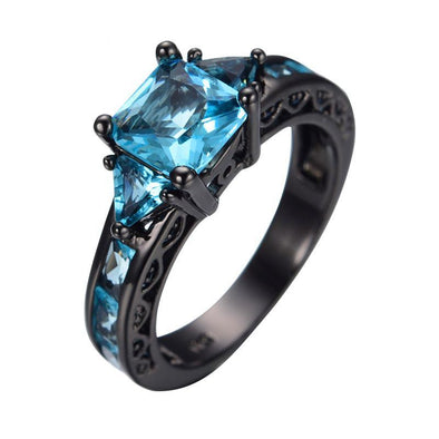 Luxxis Light Blue Square Gem Round Ring - Luxxis Jewelry