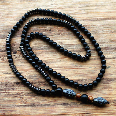 Black Men's Hematite Carving Bead Necklace - Luxxis Jewelry