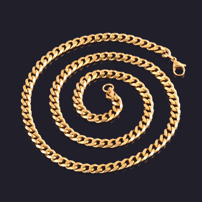 Stainless Steel Gold Cuban Chain - Luxxis Jewelry