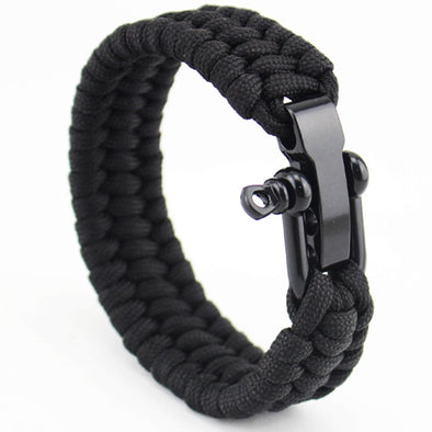 Luxxis Steel Anchor Shackles Leather Bracelet