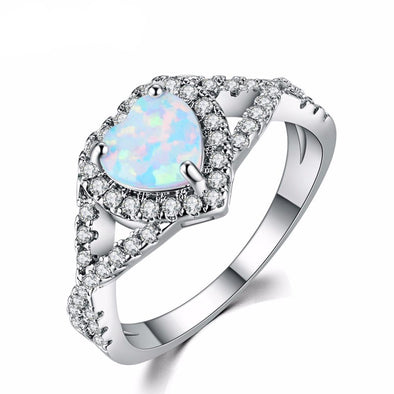 Luxxis White Fire Opal Heart Ring - Luxxis Jewelry