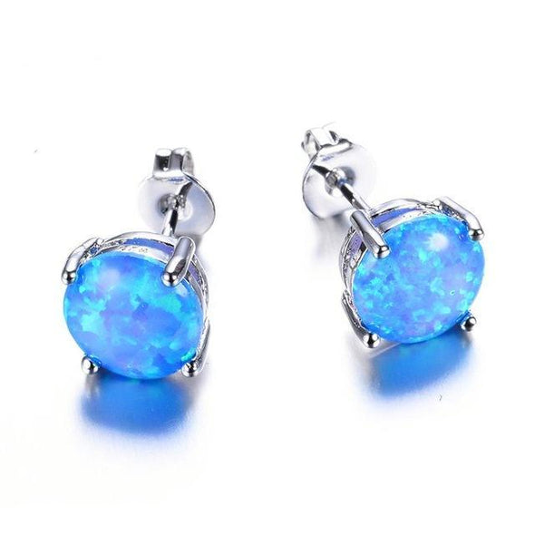 Luxxis Round Fire Opal Stud Earrings - Luxxis Jewelry