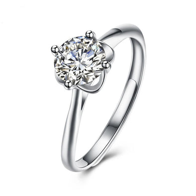 Luxxis White Flower Silver Wedding Ring - Luxxis Jewelry