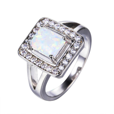 Luxxis White Fire Opal Geometric Ring - Luxxis Jewelry