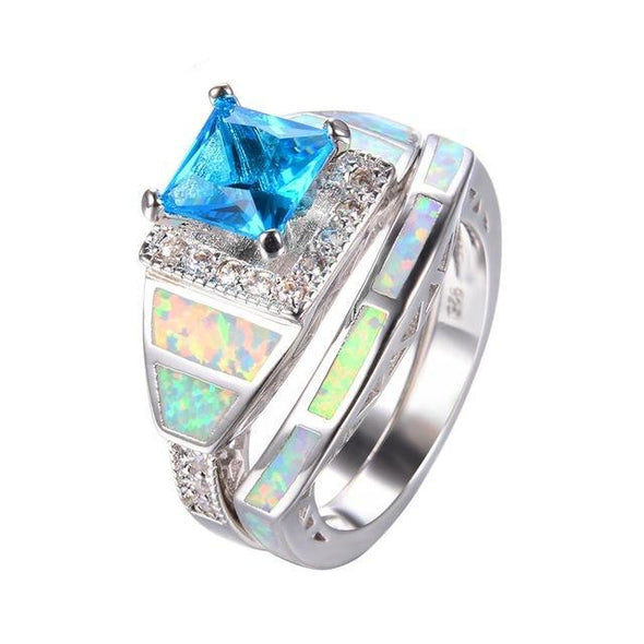 Luxxis Rainbow Fire Opal Square Zircon Ring - Luxxis Jewelry
