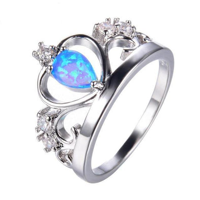 Luxxis Blue Fire Opal Crown Ring - Luxxis Jewelry