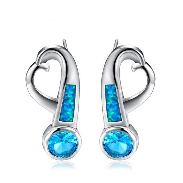Luxxis Silver Opal Stud Earrings - Luxxis Jewelry