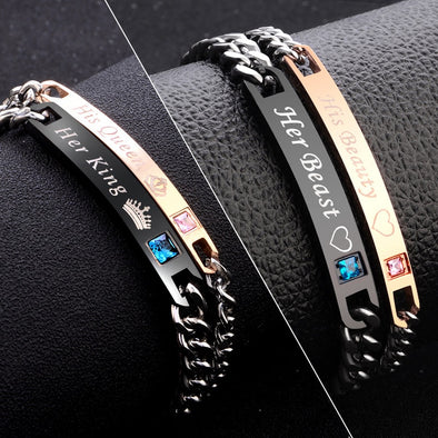 Luxxis Chain Crystal Couple Bracelet
