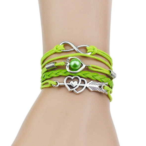 Luxxis Infinity Silver Heart Leather Bracelet