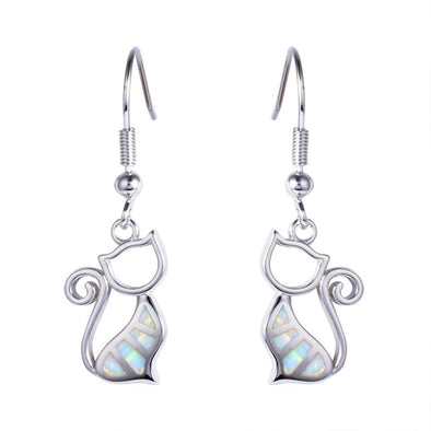 Luxxis White Opal Cat Earrings - Luxxis Jewelry