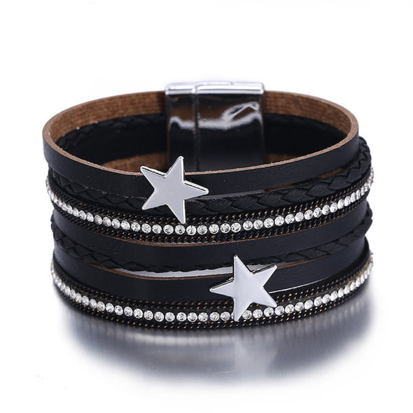 Luxxis Star Leather Charms Bracelets