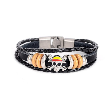 Luxxis Stainless Steel Wolf Head Leather Bracelets