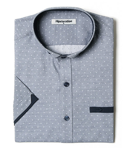 Stand Collar Shirts Designs : Men s designer stand collar polka dot button down casual dress