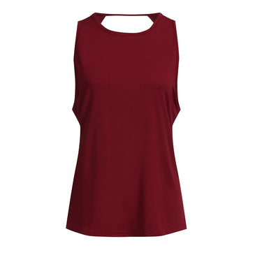 afe99b005946d3 ... Women Activewear Sexy Open Back Yoga Shirt Workout Sports Gym Tank Tops  Vest Red ...