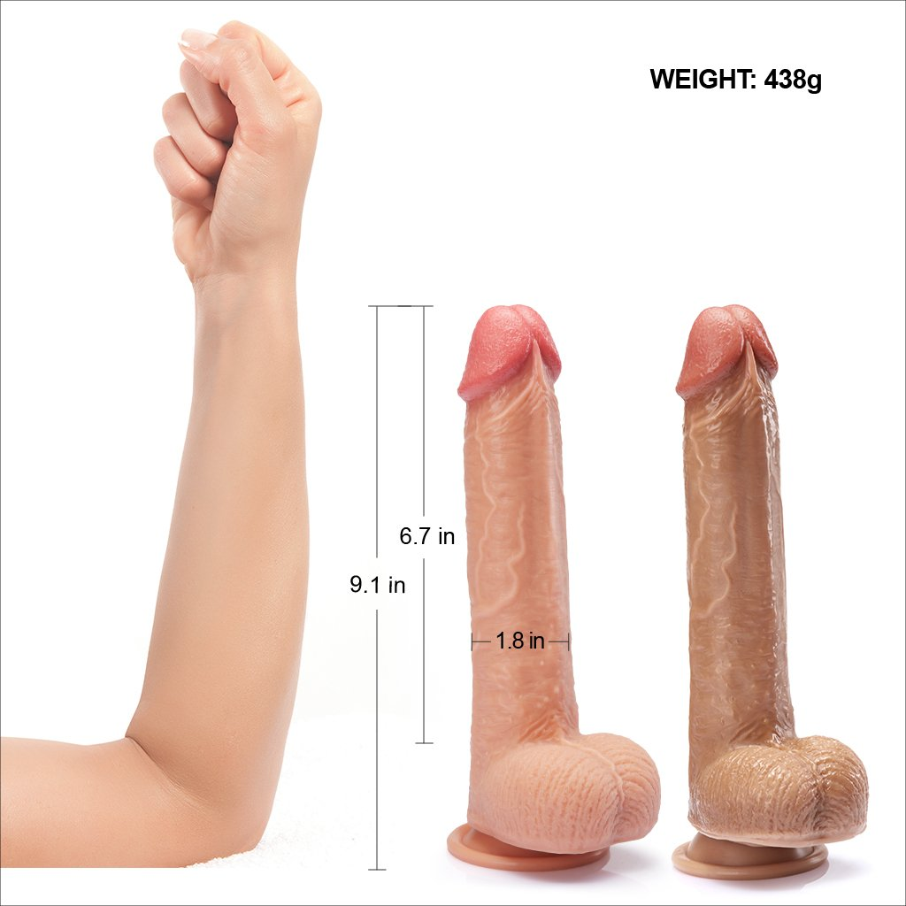 "Realistic Dildo With Suction Cup 9.1"" Large"