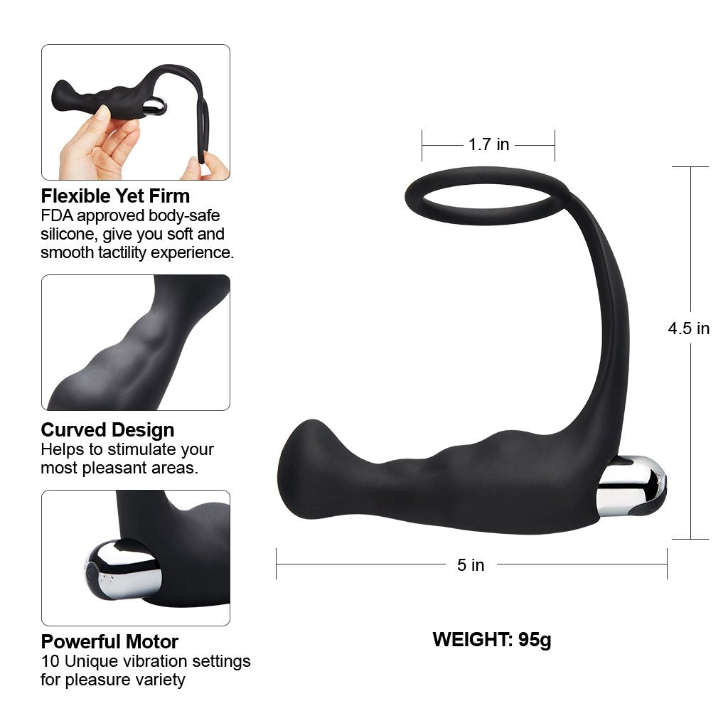 Luvkis Prostate vibrating massager with penis ring for men