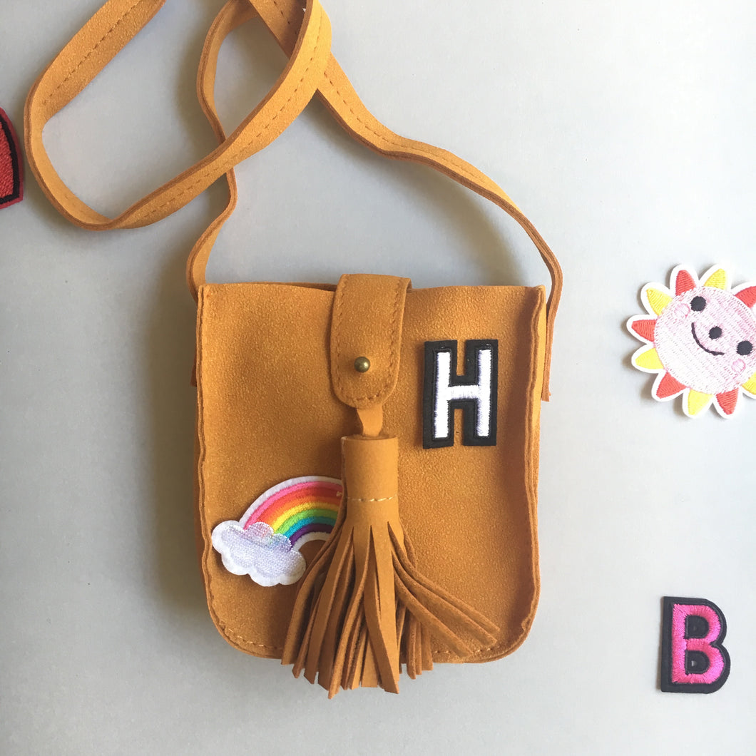 Hippy Bag - Tan -  customise with your choice of badges