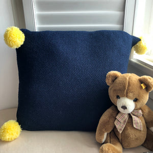 Cushion Cover - Navy with Yellow PomPom