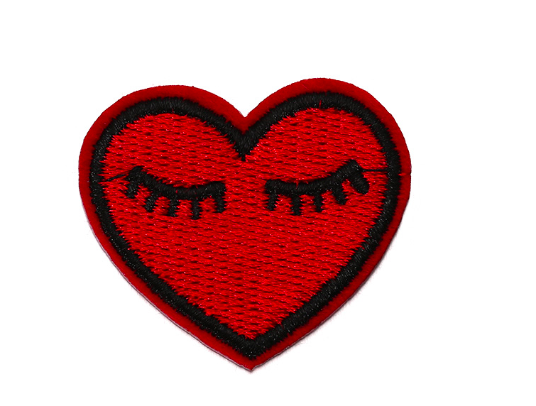 Iron on Embroidered Patch Badge - Heart with Lashes