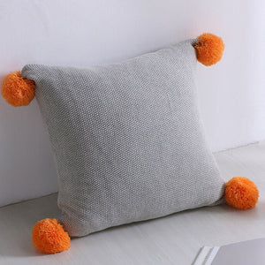 Cushion Cover - Grey with Orange PomPom