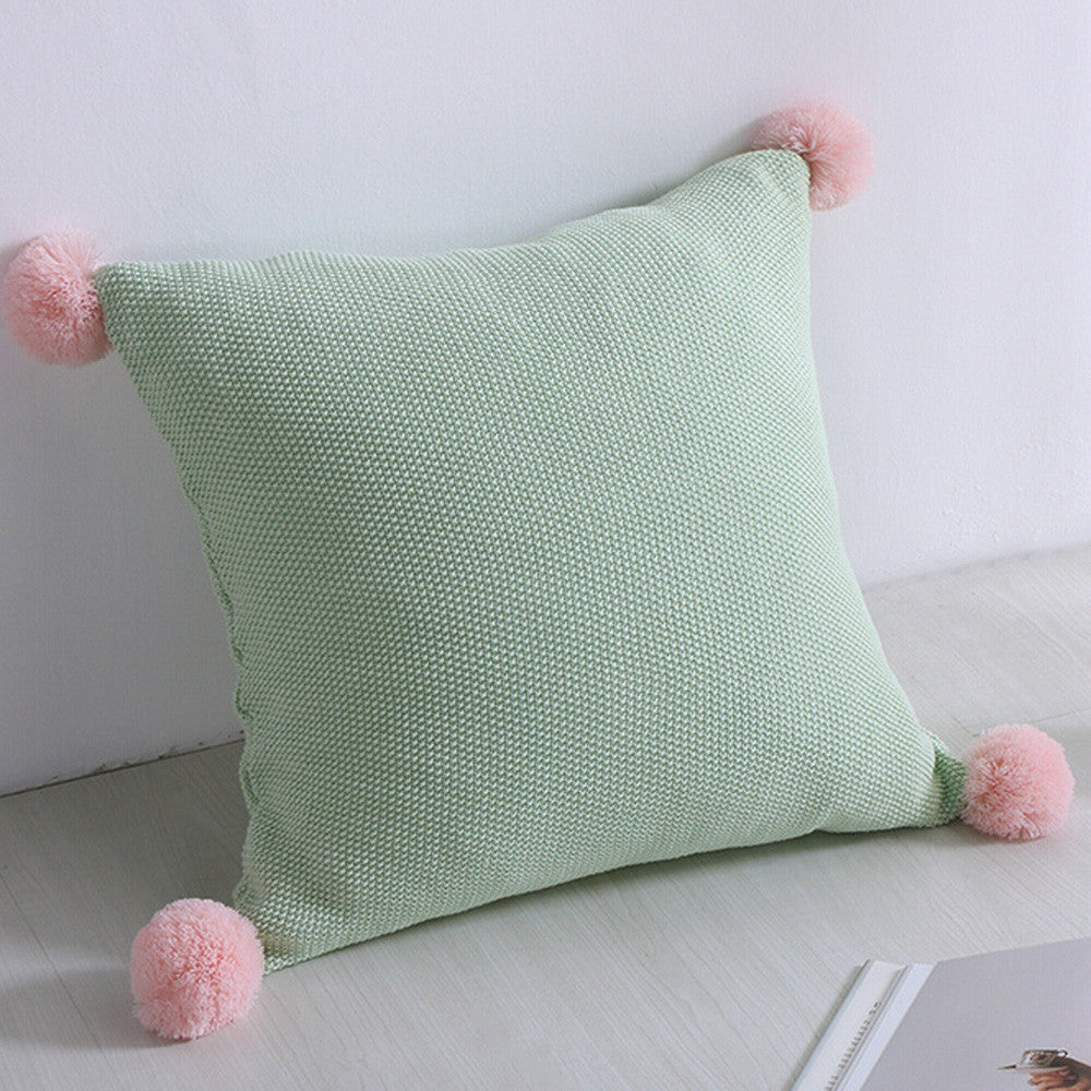 Cushion Cover - Mint with Pink PomPom