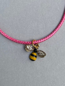 charm necklace - Bee (you choose the cord & tin colour)