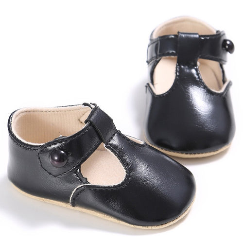 Leather T-Bar Baby Shoes - Black