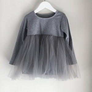 Long Sleeve Baby Doll Tutu top - Grey
