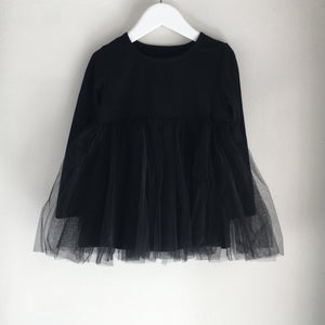 Long Sleeve Baby Doll Tutu top  - Black