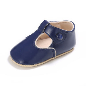 Leather T-Bar Baby Shoes - Navy