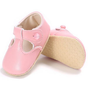 Leather T-Bar Baby Shoes - Pink