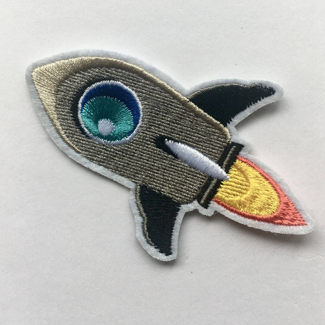 Iron on Embroidered Patch Badge - Rocket