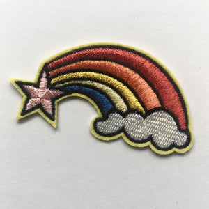 Iron on Embroidered Patch Badge - star + rainbow