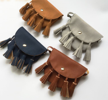 Tan Tassel Coin Purses - Many colours available - customise with your choice of badges