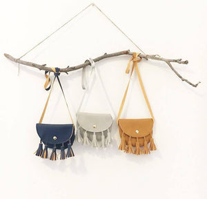 Brown Tassel Coin Purses - Many colours available - customise with your choice of badges