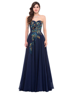 Elegant 2017 Blue Apricot Peacock Evening Dress Appliques Formal Women Evening Dresses Purple Black Sexy Long Prom Party Gowns