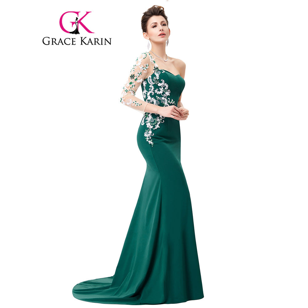 Grace Karin Asymmetrical Long Sleeve Evening Dress Appliques Lace Special Occasion Gowns Dark Green Mermaid Evening Dresses 2018