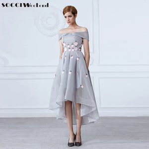 Stylish Gray Evening Dresses 2017 Off Shoulder Sexy Lady Appliques Flower Short Front Long Back Dress Formal Wedding Party Gown
