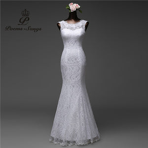 Poemssongs custom made high quality lace floor length  Mermaid Wedding dresses vestido de noiva Bride dresses