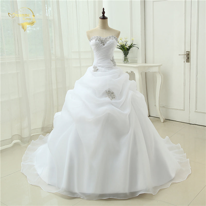 Hot Sale New Arrival Vestido De Noiva A Line Bridal Gown Beading White Ivory Wedding Dress 2017 Robe De Mariage Casamento OW3199